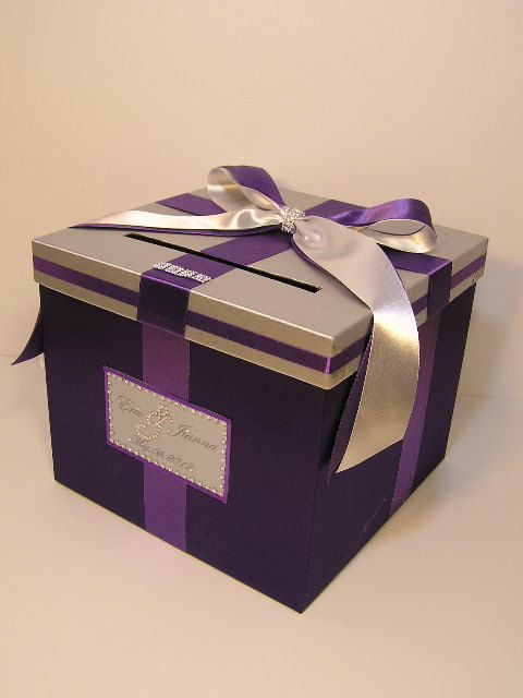Wedding Quinceanera Sweet 16 Money Box Silver And Purple Card Box