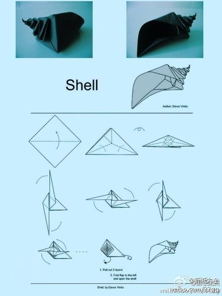 Origami shell folding instructions craft pinterest shell origami shell folding instructions altavistaventures Choice Image