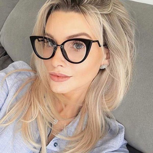 Pop Age New Brand Designer Celebrity Cat Eye Clear lens glasses ...