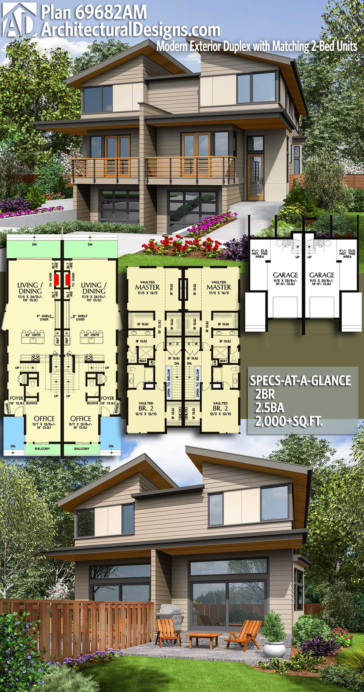 Multi Unit House Plans Plan 69682am Modern Exterior Duplex With Matching 2 Bed Units In