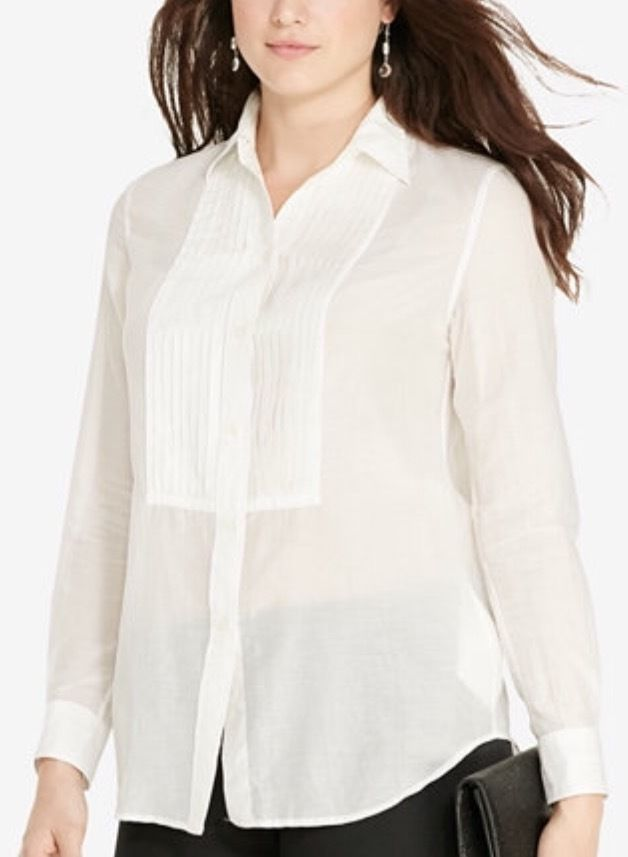 54540c317ffd9 NWT Lauren Ralph Lauren Women s Plus Size White Long Sleeve Voile Shirt size  14W  LaurenRalphLauren  ButtonDownShirt