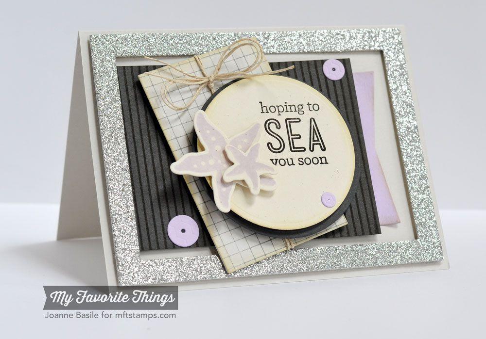 Grid Background, Sea Life, Blueprints 15 Die-namics, Rectangle Frames Die-namics, Sea Life Die-namics, Sequins Die-namics - Joanne Basile #mftstamps