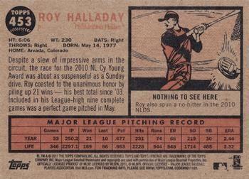 2011 Topps Heritage #453 Roy Halladay Back