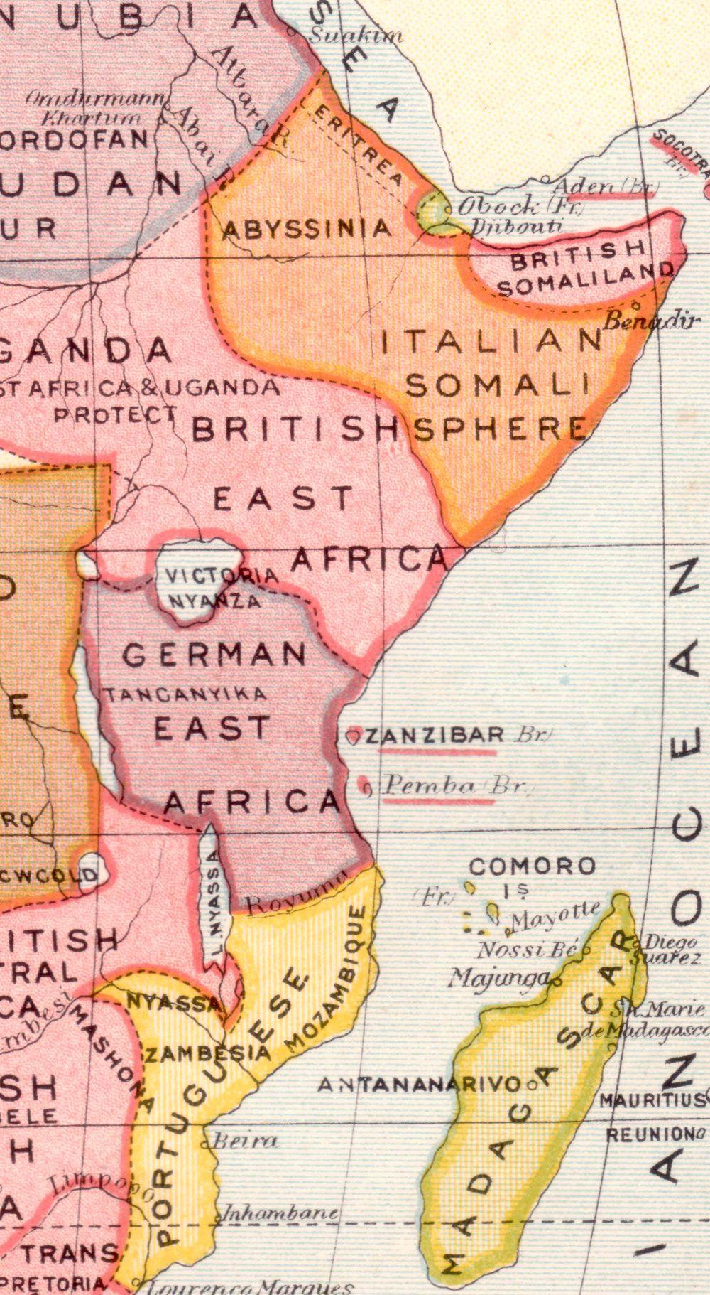 German East Africa Map map 1800 191418 Pinterest