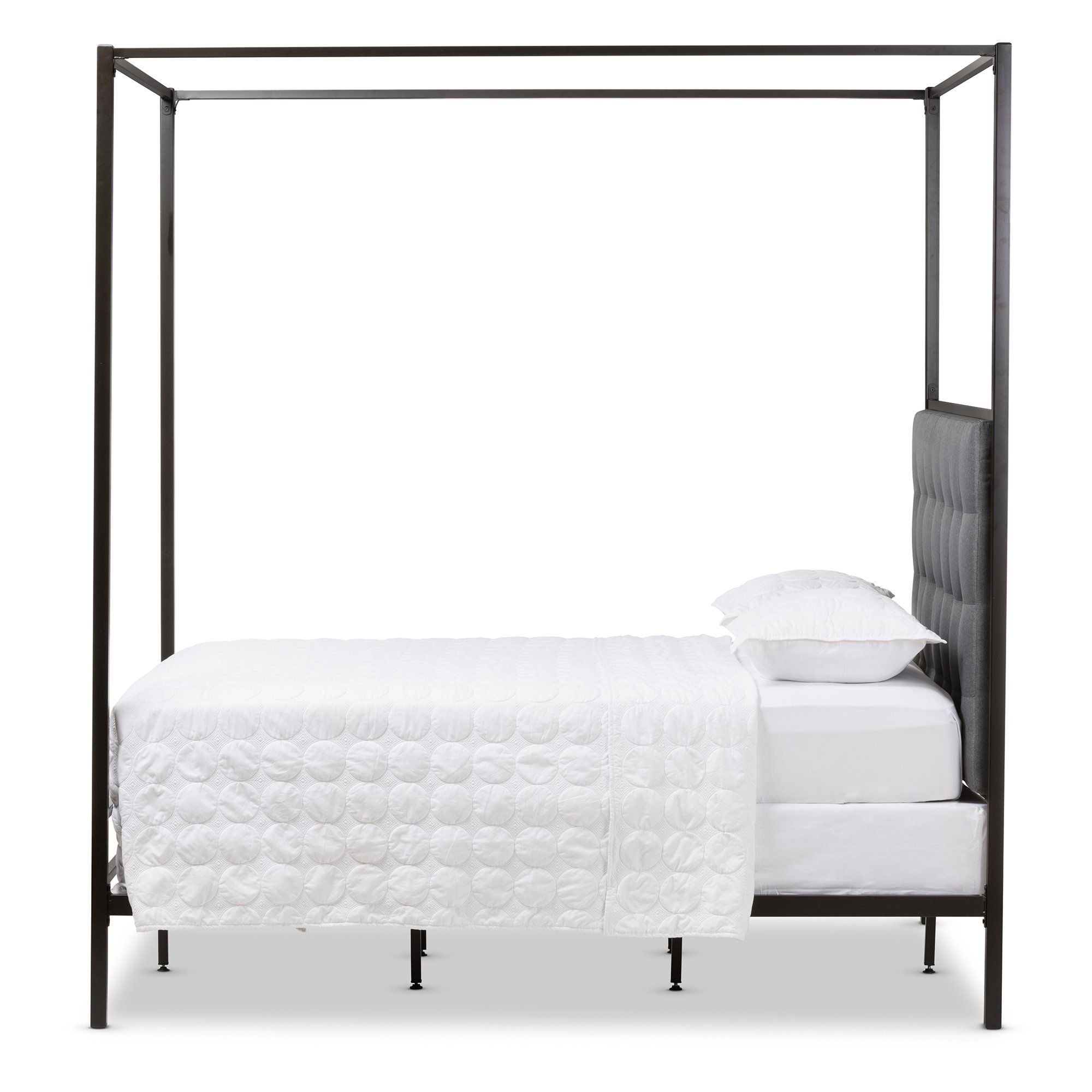 Baxton Studio Eleanor Black Metal Canopy Queen Bed