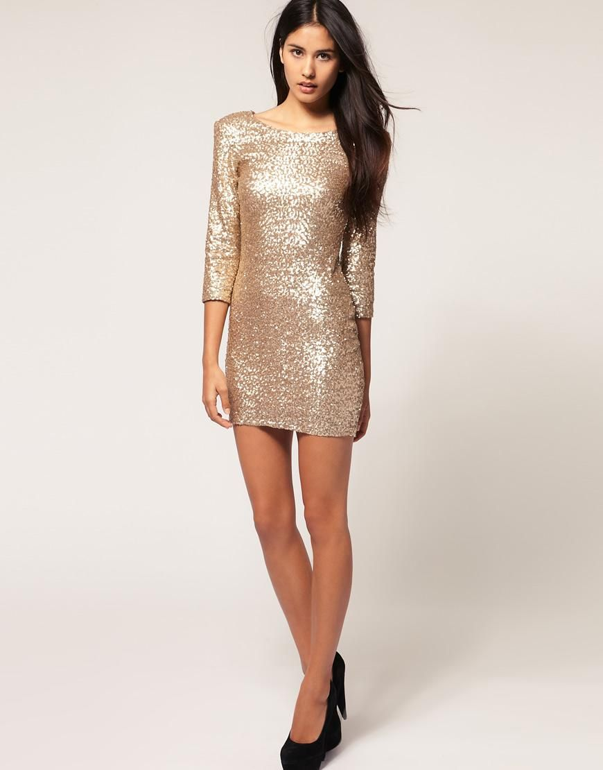 Tfnc tfnc sequin dress with long sleeves at asos wardrobe