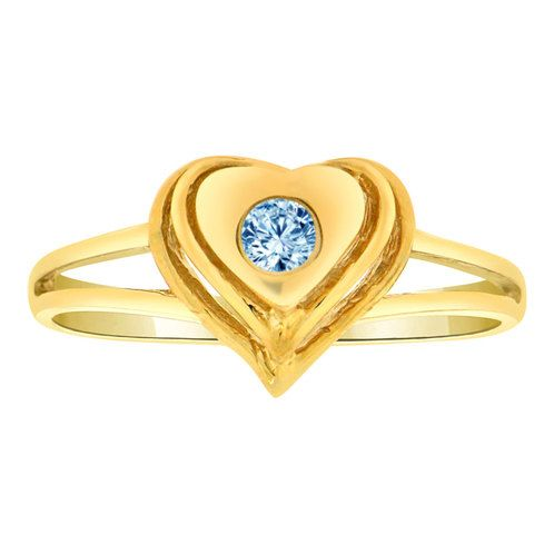 14k Yellow Gold, Dainty Heart Shape Ring Mar Birth Color Cubic Zirconia (R203-403)