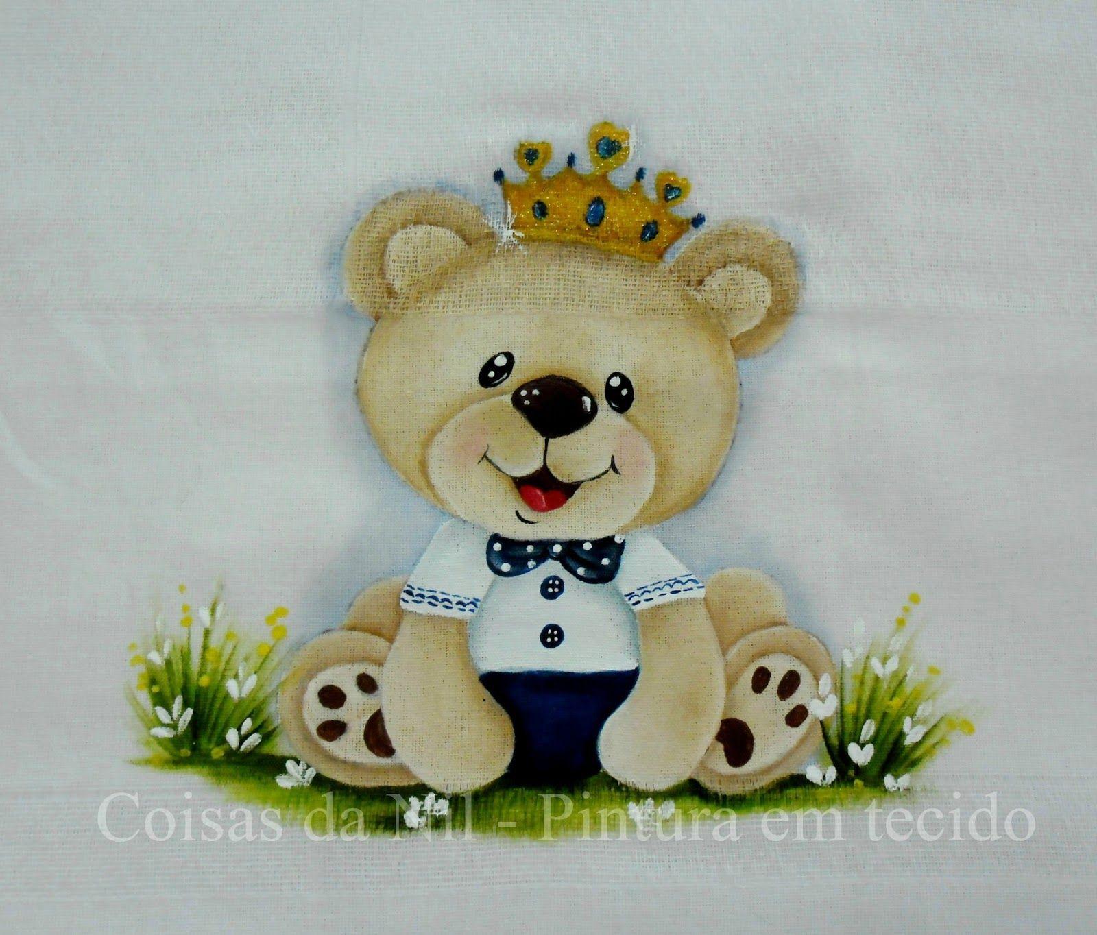 Preferência ursinho príncipe pintado em fralda de tecido | Risco para pintura  GW49