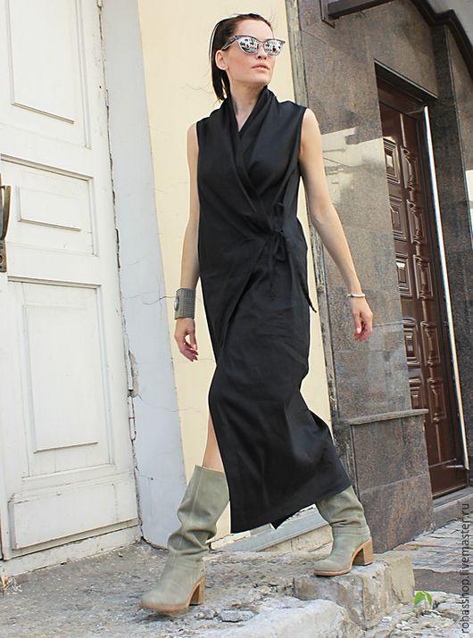 Черное длинное прямое платье фото