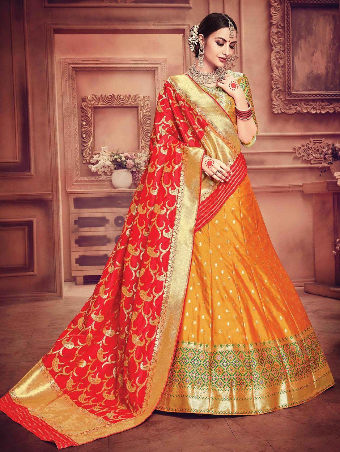 bf92391709 Orange Pure banarasi silk leheng choli with contrast red dupatta ...