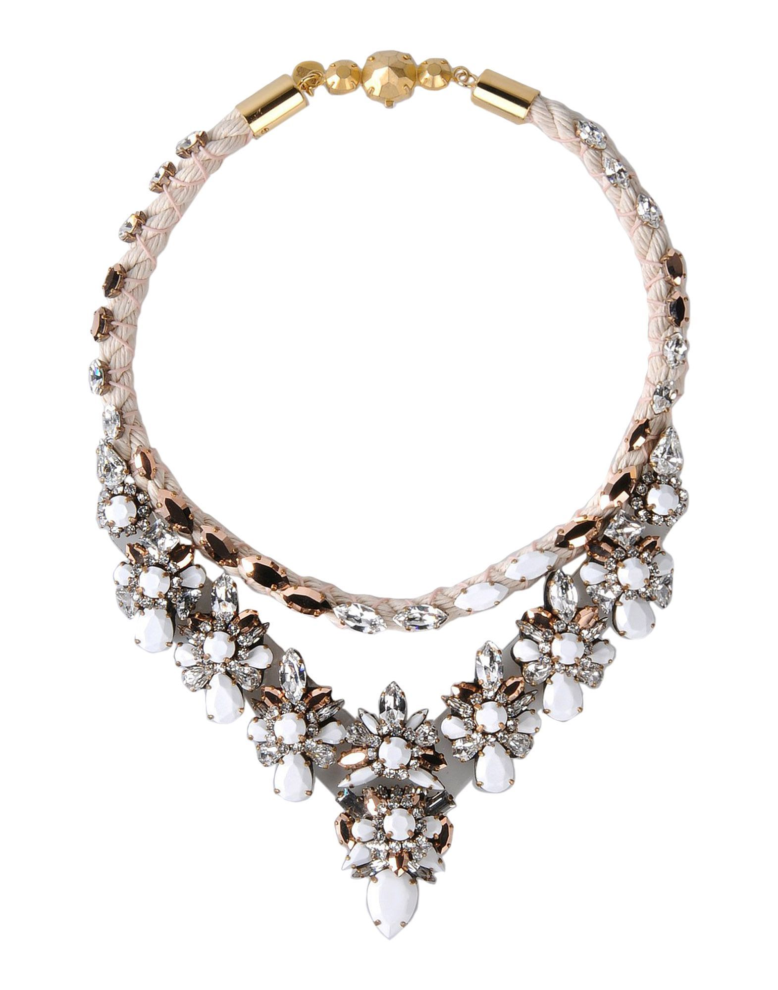 neon embellished necklace leitmotiv crystal zambia clear pink taupe shourouk