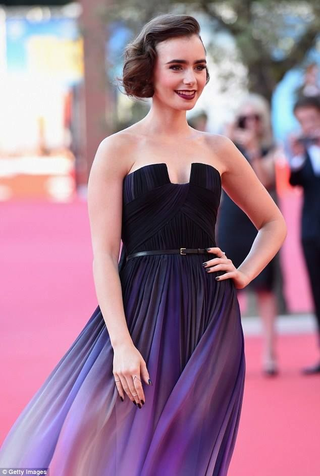 Lily Collins in Elie Saab at the Love, Rosie premiere at the ...
