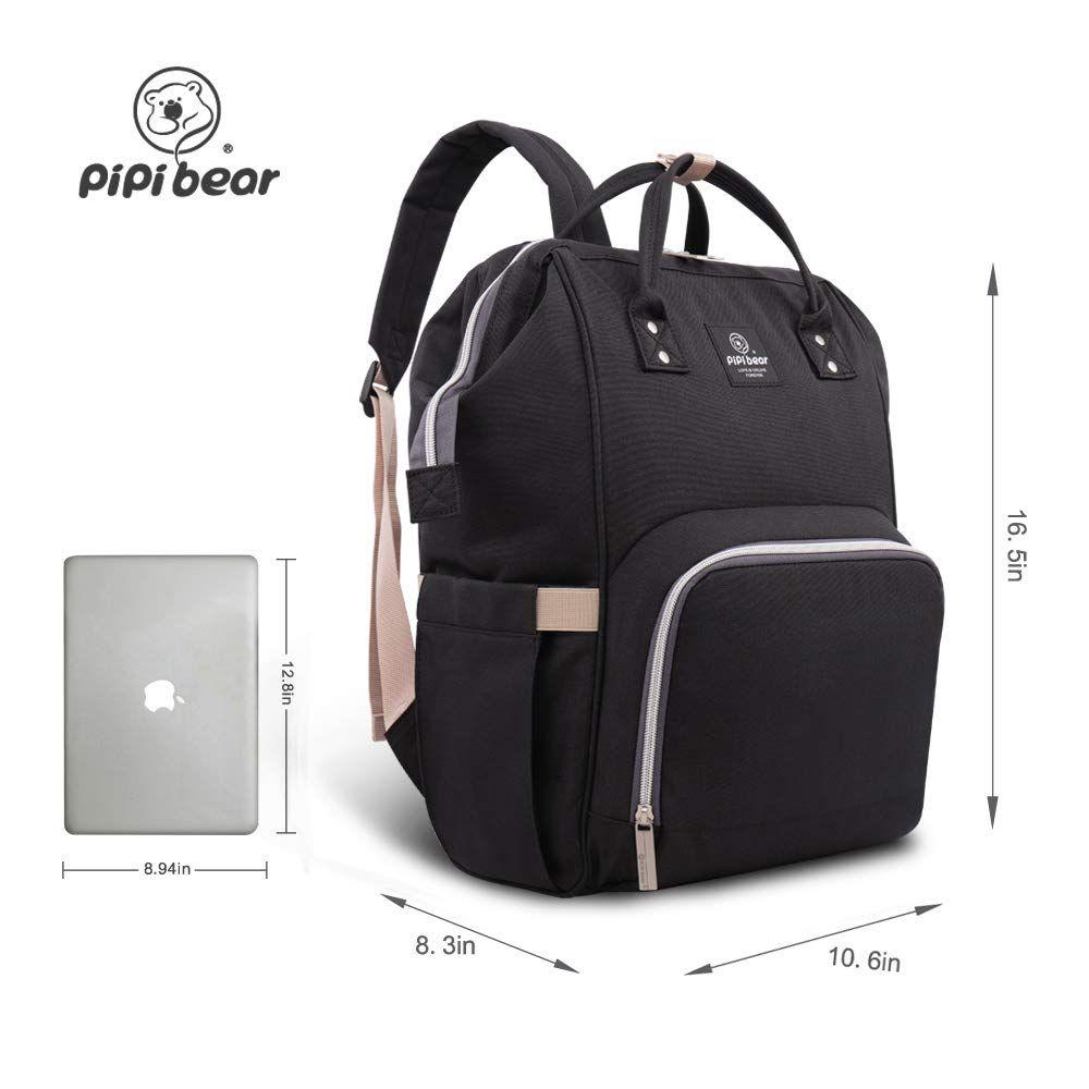 HEYI Diaper Tote Bag Black Travel Backpack Organizer