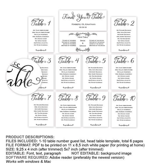 Table Seating Chart Guest Name List By Yourweddingtemplates