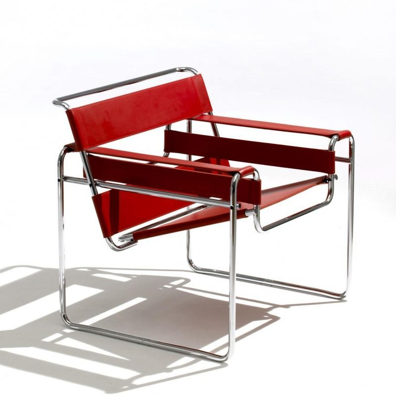 Knoll International Wassily Marcel Breuer Fauteuil cuir rouge