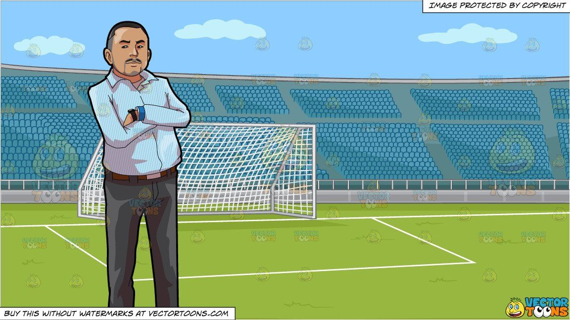 Clipart Cartoon A Strict Boss Crossing His Arms And A Soccer Field With Stadium Seating Background Vendor Vectortoon Soccer Field Stadium Football Field