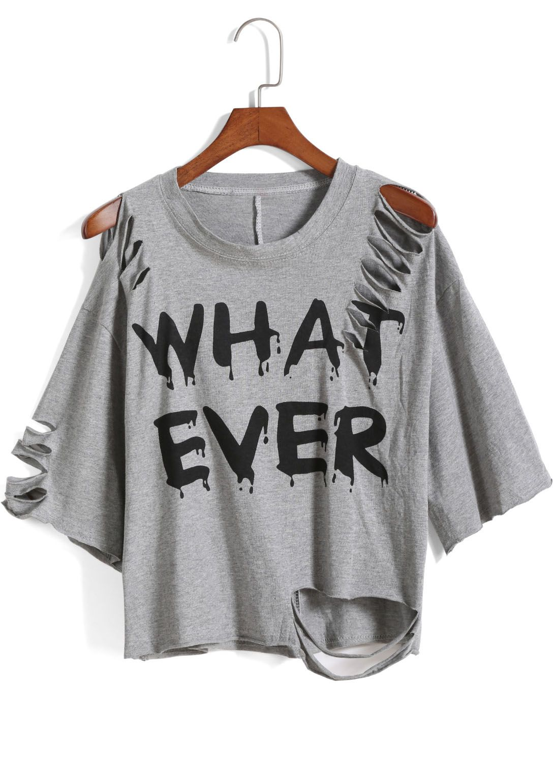 Grey Round Neck Ripped WHAT EVER Print TShirt Destroyed