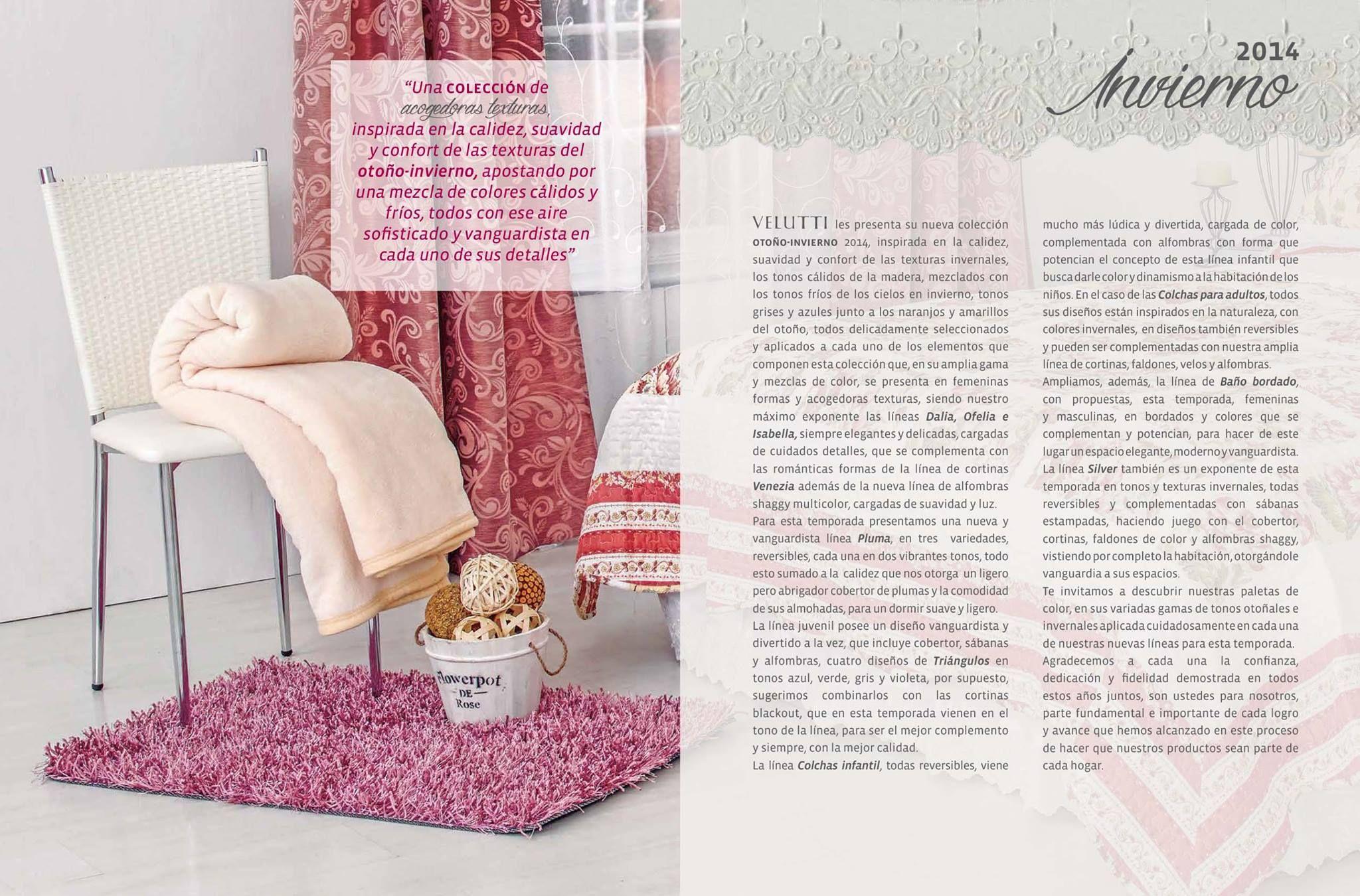 Catalogo Velutti textiles para hogar colección otoño/invierno 2014