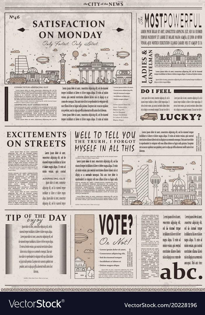 Design Of Old Vintage Newspaper Template Vector Image On Vectorstock Vintage Newspaper Newspaper Template Newspaper Design