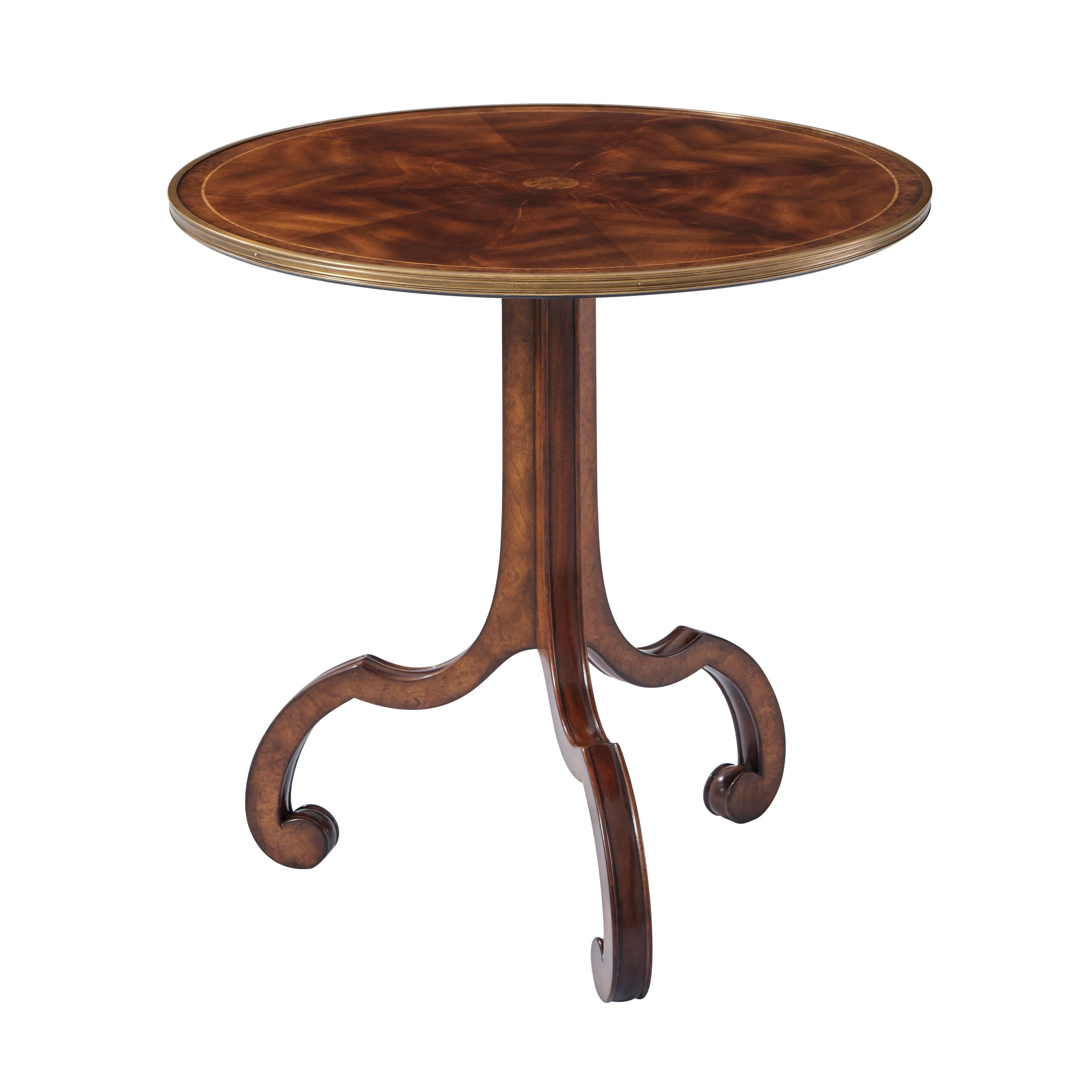 A Mahogany And Flame Veneered Lamp Table The Circular Line Strung And Brass Bound Top On S Scroll Legs Fully Veneer In 2020 Living Room Side Table Side Table Table