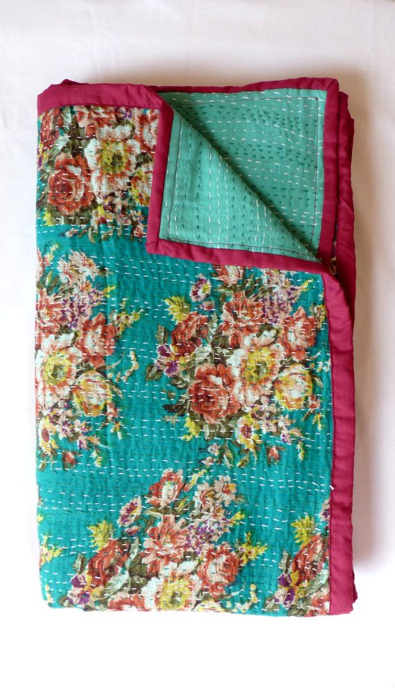 beautiful floral kantha quilt bedspread queen king size