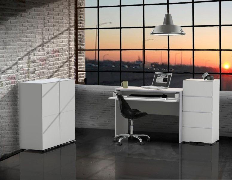 Nexera Blvd 4 Piece Office Set In White With 1 Door Storage Units  #EzPzFurniture #