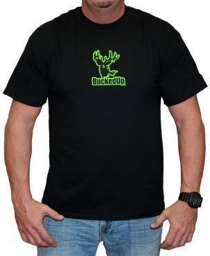 Bucked Up Men/'s Logo Short Sleeve T-Shirt Black//Green