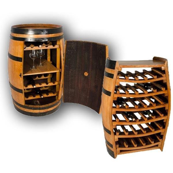 Conjunto barrica mueble bar y botellero vino barriles - Botellero de madera para vino ...