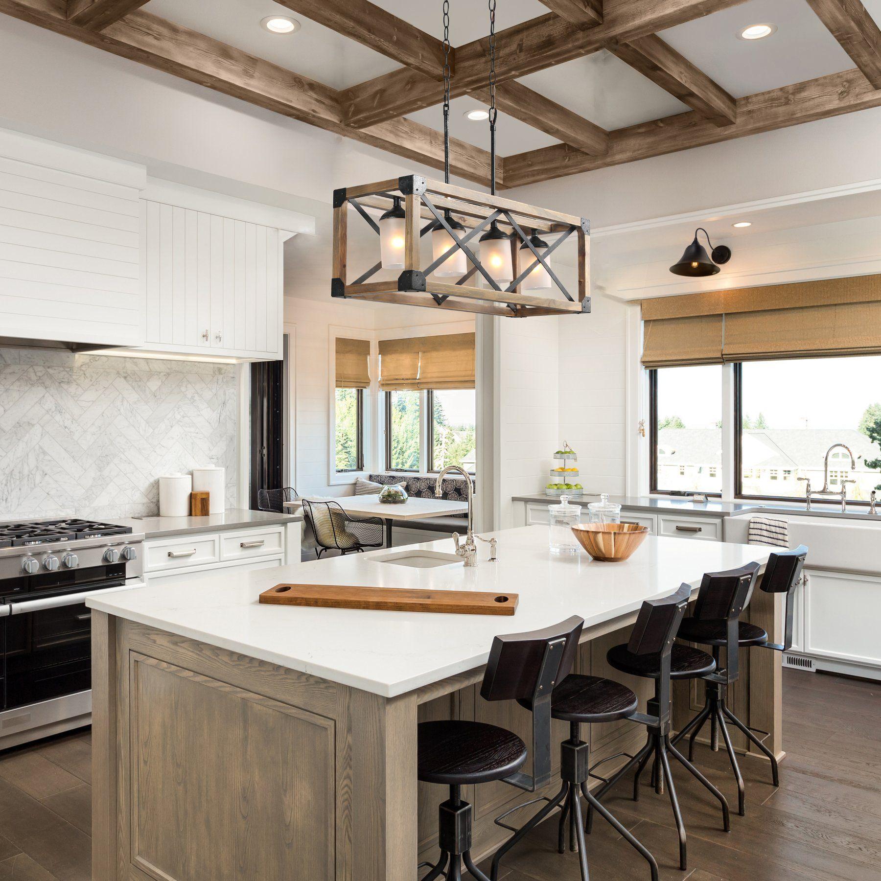 rectangle box pendant light 4 lights rustic kitchen island kitchen remodel kitchen design on kitchen id=17337