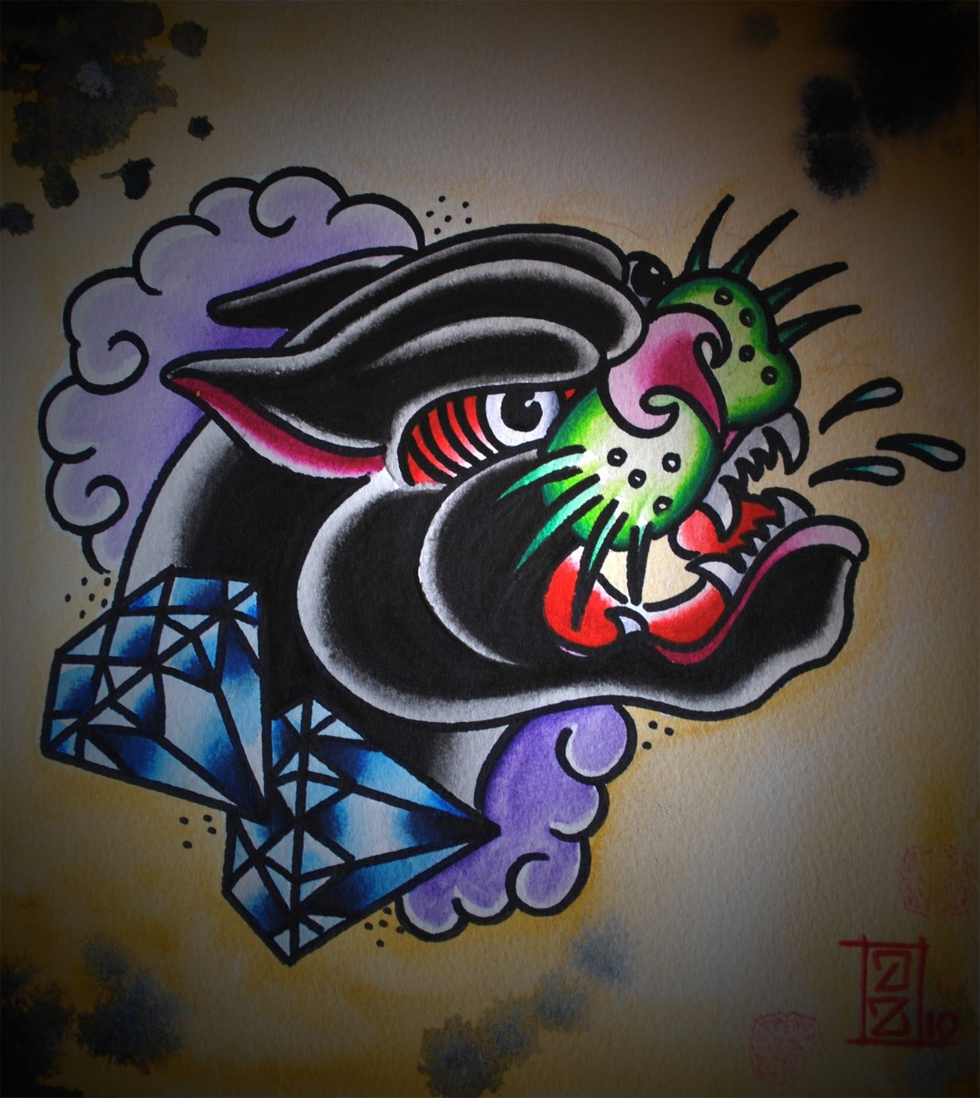 traditional panther head tattoo designs google search tattoos design pinterest head. Black Bedroom Furniture Sets. Home Design Ideas