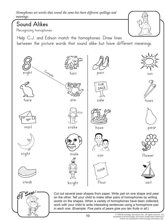 Sound Alikes - Free English Worksheets on Homophones | Language Arts ...
