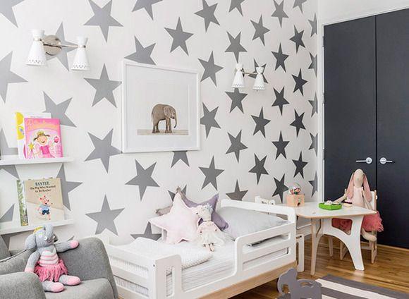 papeles pintado de estrellas para el dormitorio infantil