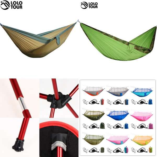 Sports & Entertainment Outdoors Portable Camping Parachute Sleeping Double Hammock Garden Swing Hammock Hanging Bed Travel Camping Swing Canvas Stripe