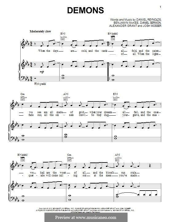 Demons Imagine Dragons With Images Piano Sheet Music Easy