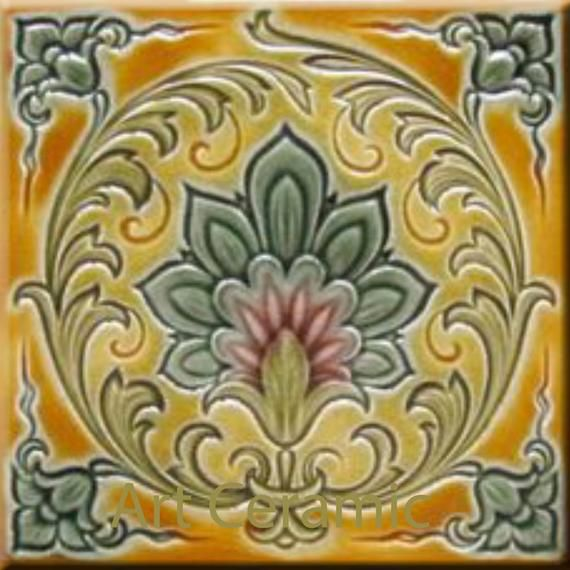"Original  Victorian Minton Tile Beautiful Design 6"" X 6"" 3 Available"