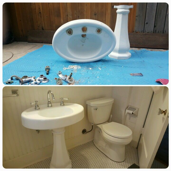Disassembling A Pedestal Sink And Installing New Hardware Is How