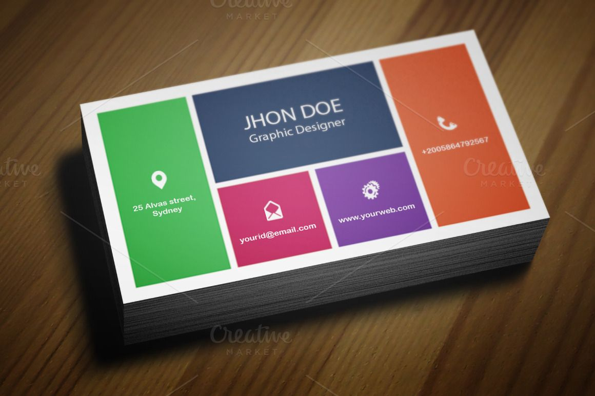 Colorful Business Card Template   Card templates, Business cards and ...