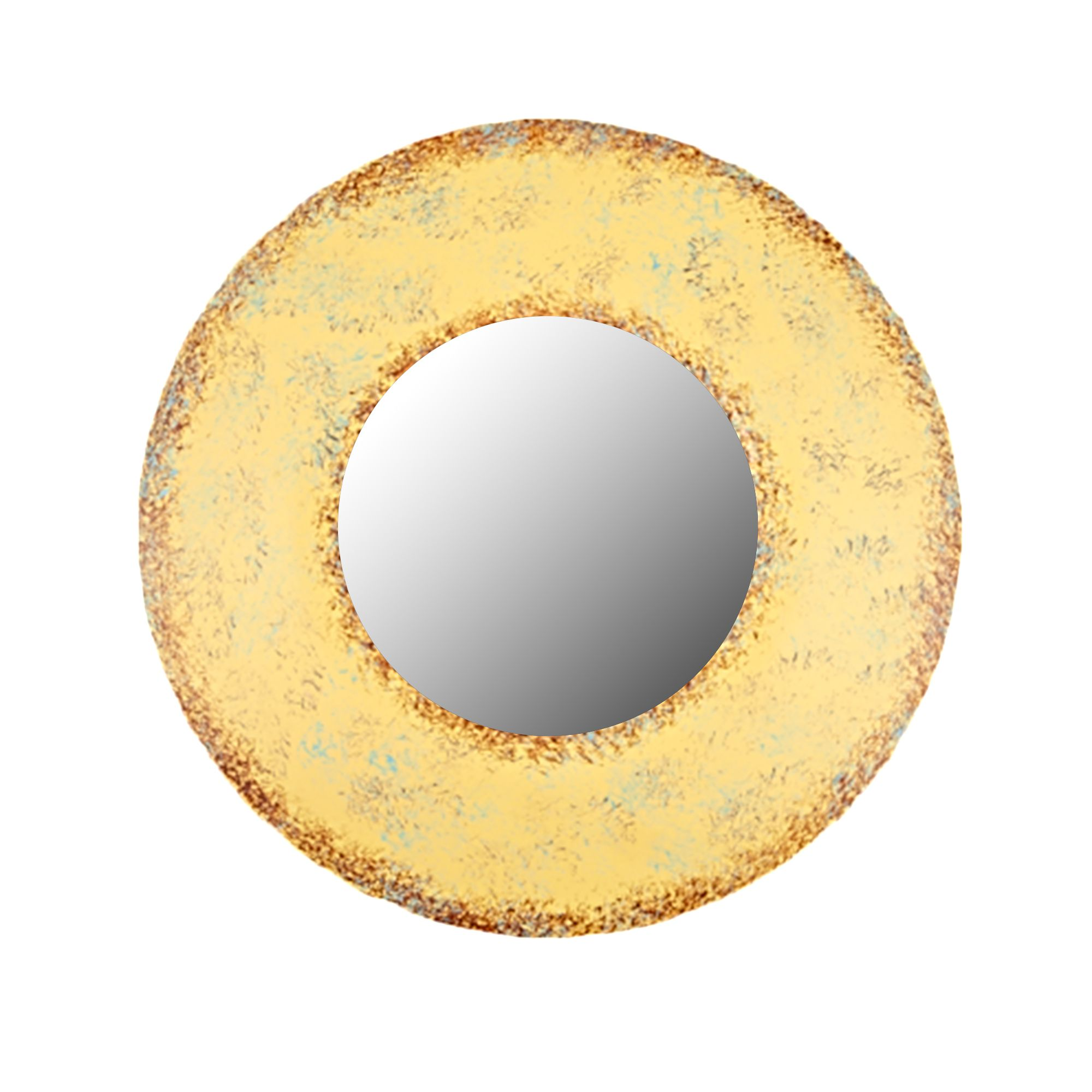 Distressed Round Thick Frame Mirror, Yellow, 12\