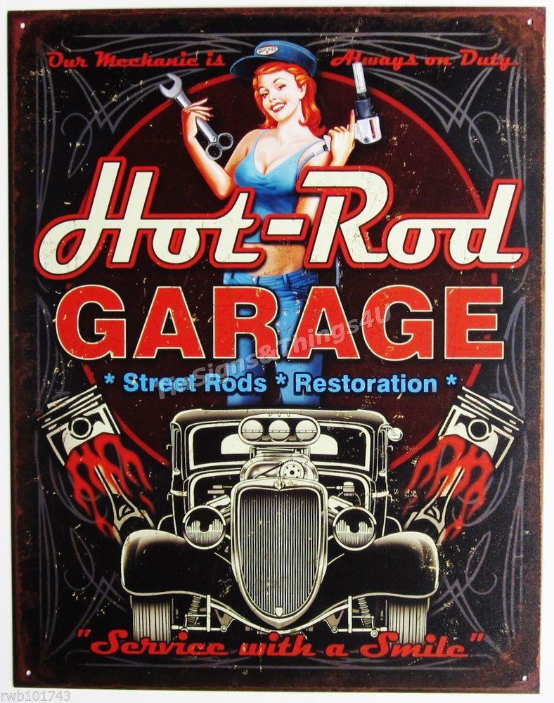 Hot-Rod Garage Pinup Girl Tin Sign Street Piston Vtg Car -8523