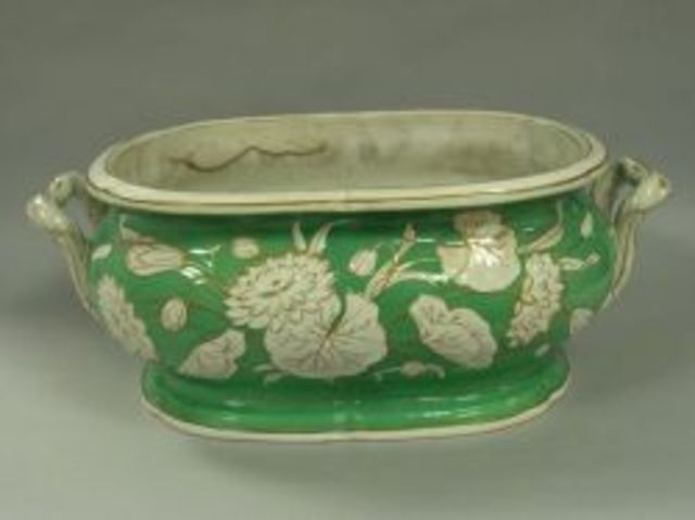 Gilt Highlighted Green and White Floral Decorated Ceramic Foot Bath.