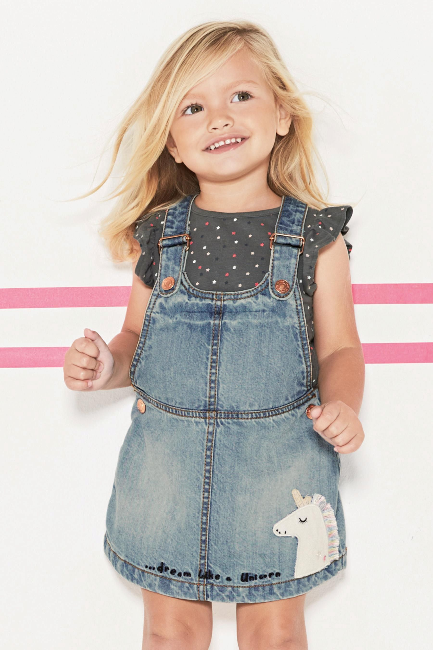 d96530707 Buy Denim Unicorn Pinafore (3mths-6yrs) from the Next UK online shop ...