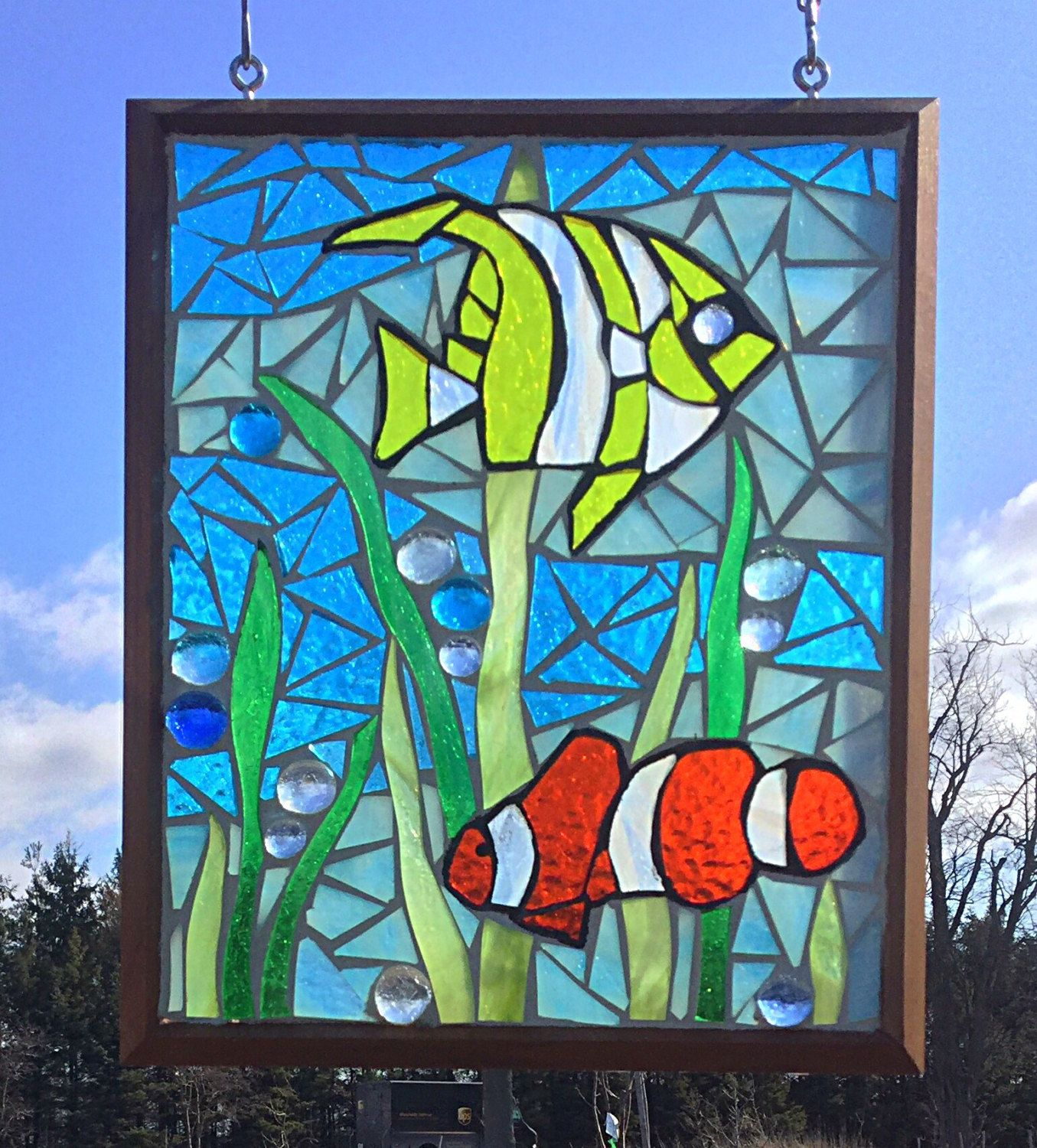 Tropical Fish Stained Glass Mosaic Panel Clown Fish Stained Glass