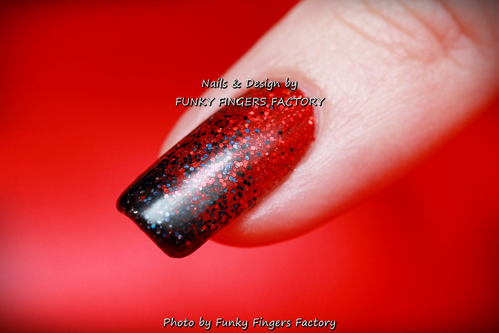 Gelish Red and Black Glitter Ombre #Halloween nails by ...