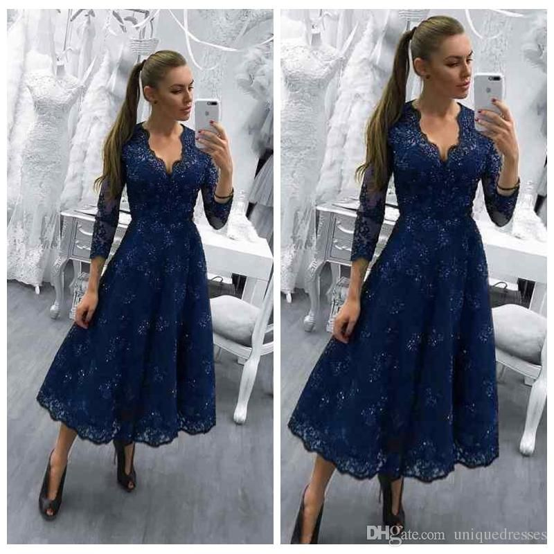 2018 Mother Of The Bride Dresses V Neck Navy Blue Long Sleeves Lace