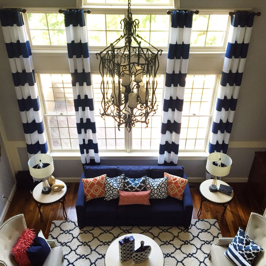 Window coverings for 2 story windows  two story windows the sky is the limit when mixing patterns within