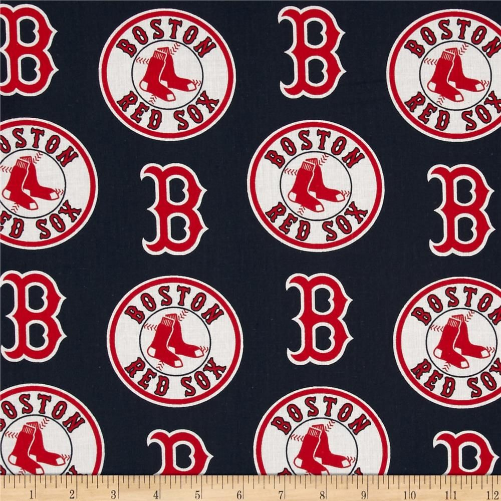 Mlb Cotton Broadcloth Boston Red Sox Red Navy Baseball Fabric Red Sox Boston Red Sox