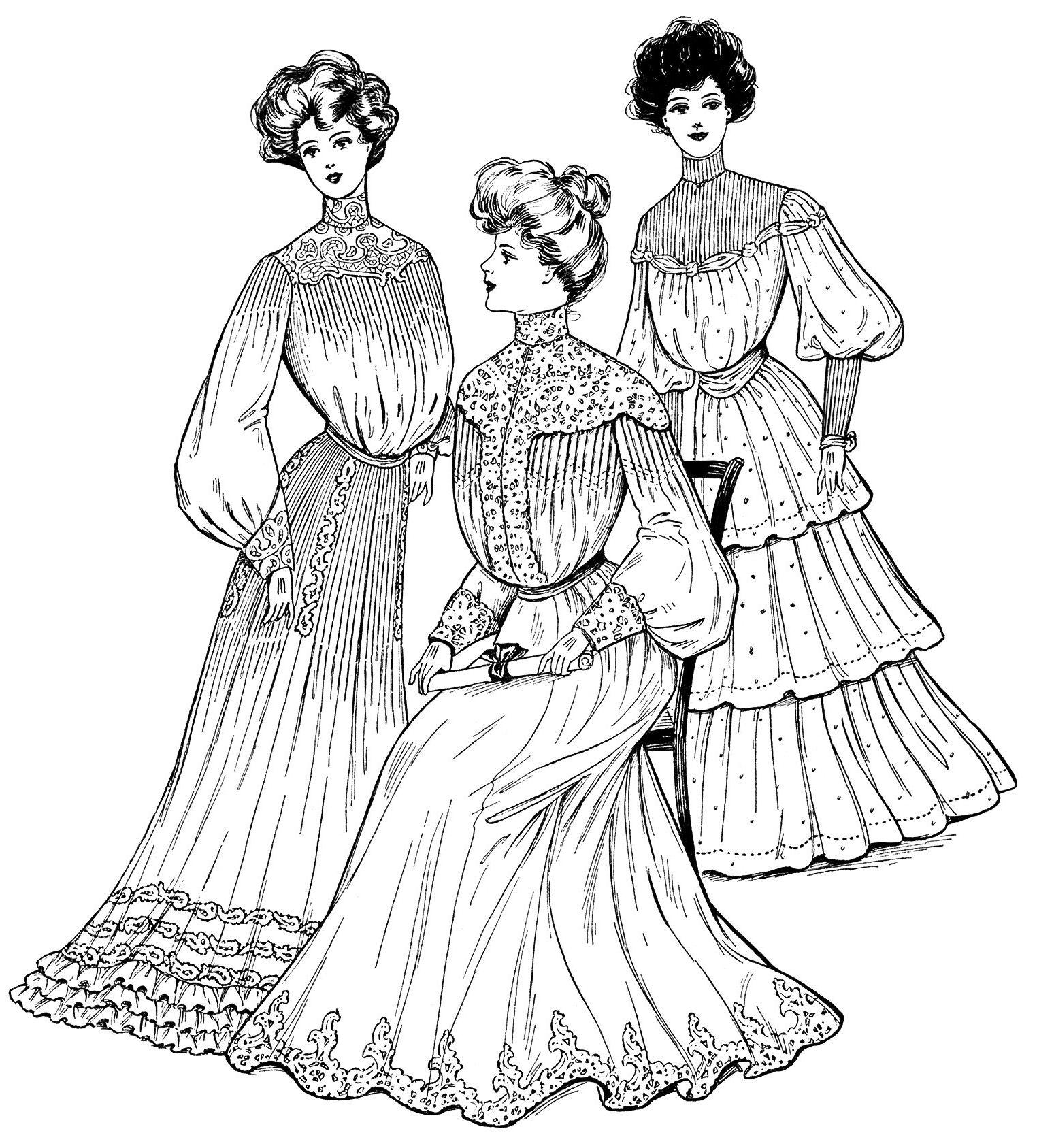 Victorian lady clip art antique grad dress illus black and white