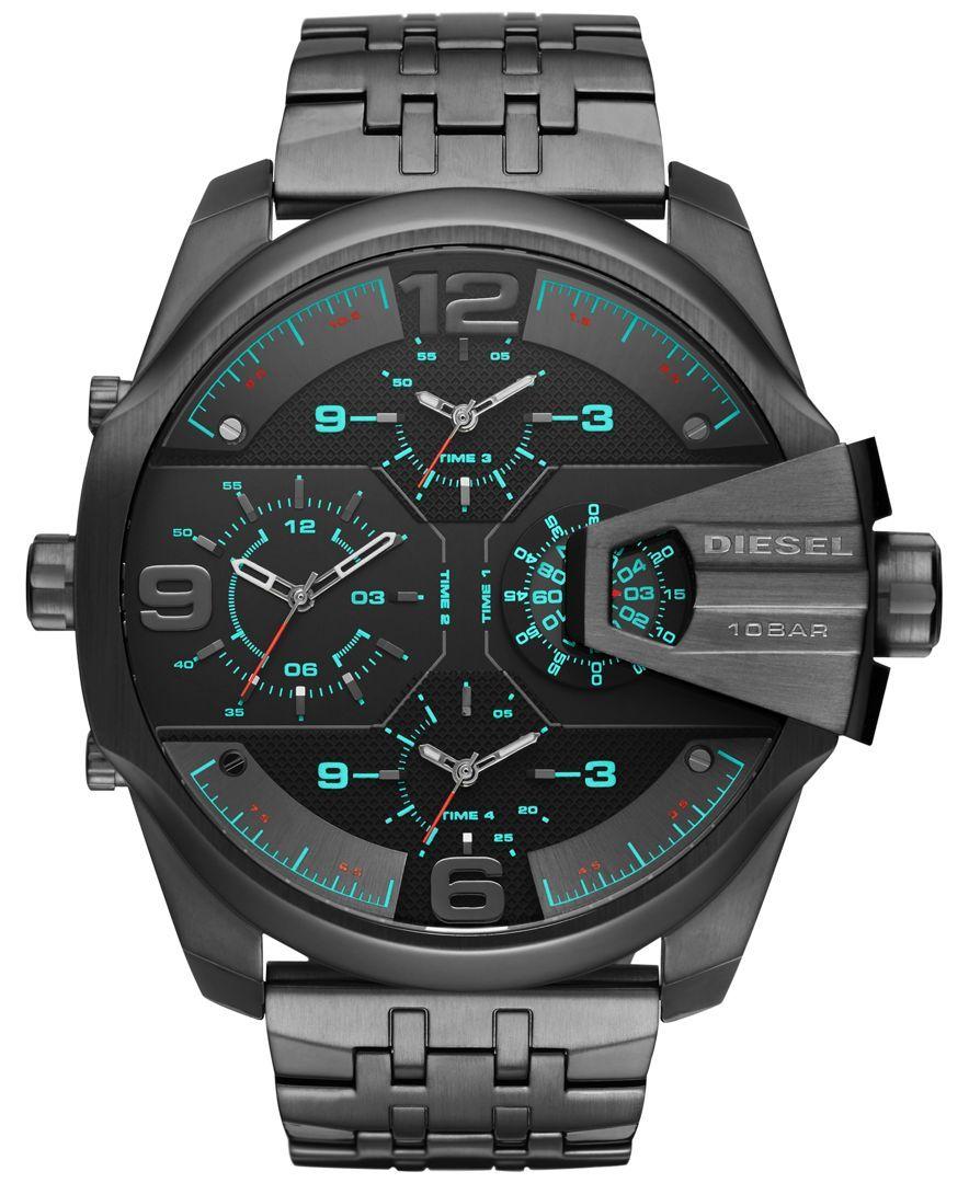 Diesel Men's Chronograph Uberchief Gunmetal Ionplated Stainless Steel  Bracelet Watch 55x62mm Dz7372