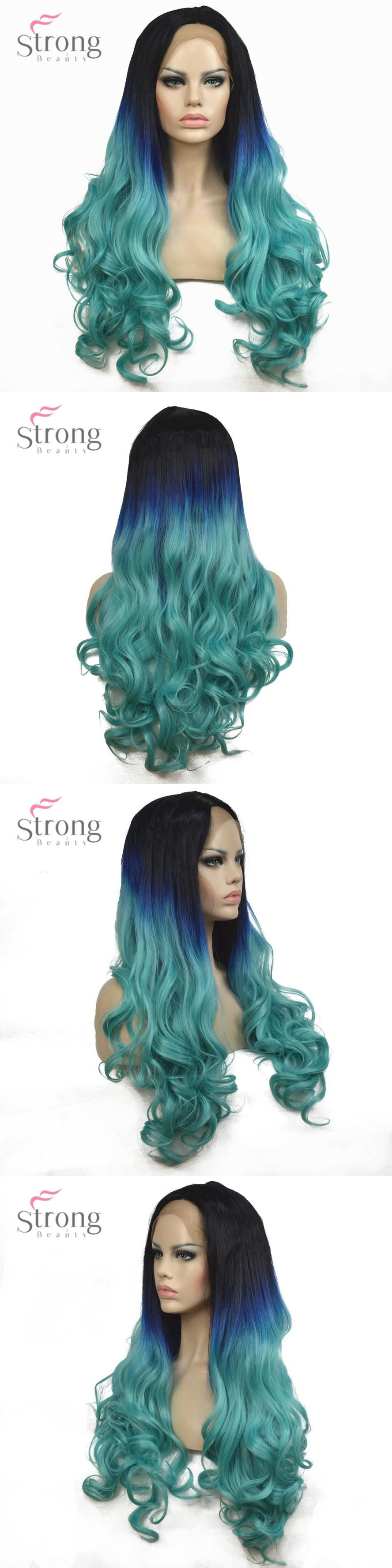 Strongbeauty womenus lace front wigs ombre light blue long wavy hair