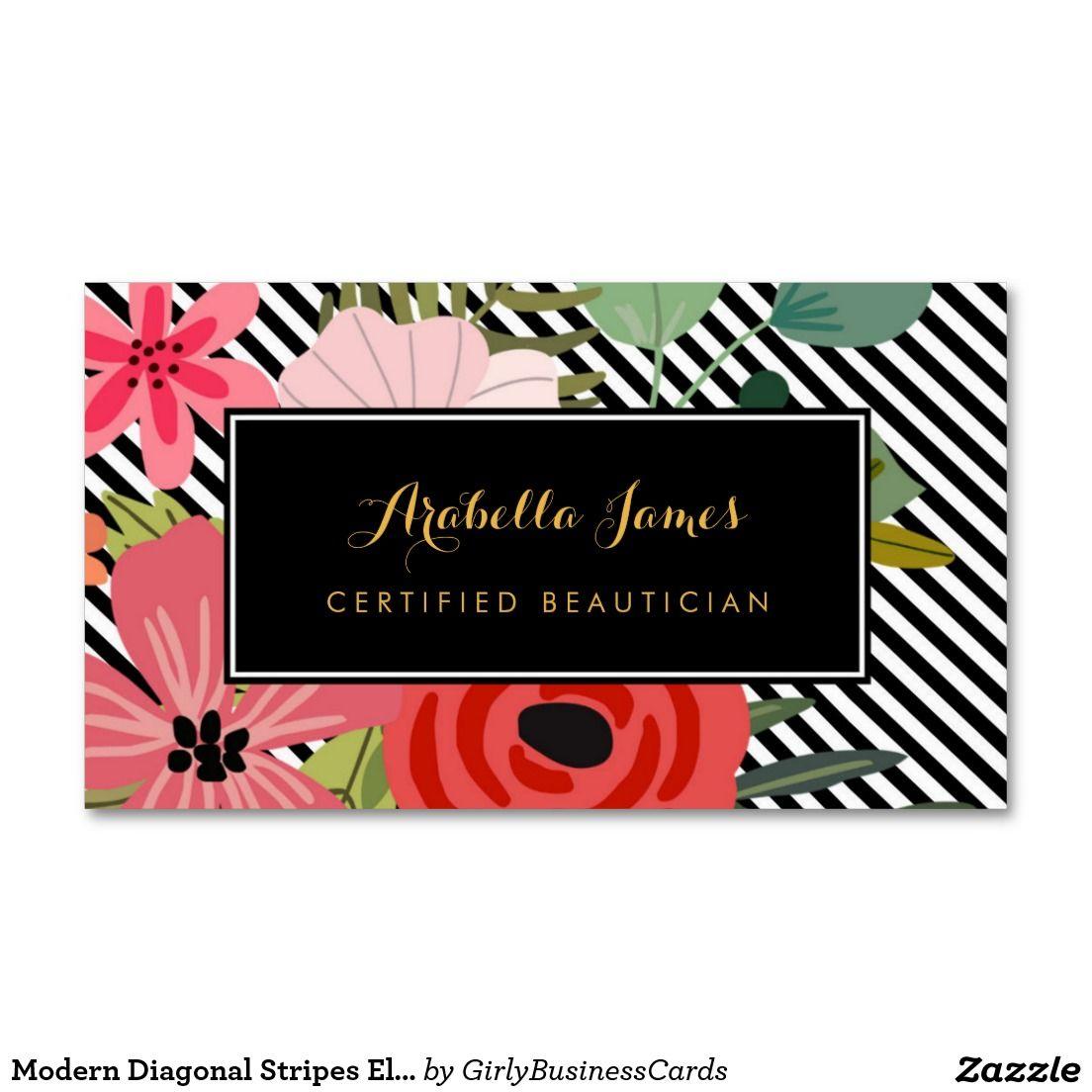 Modern Diagonal Stripes Elegant Floral Beautician Business Card